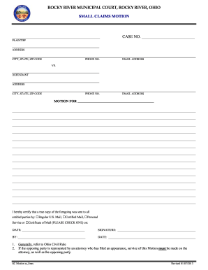 Rocky river small claims - Fill Out and Sign Printable PDF Template   SignNow