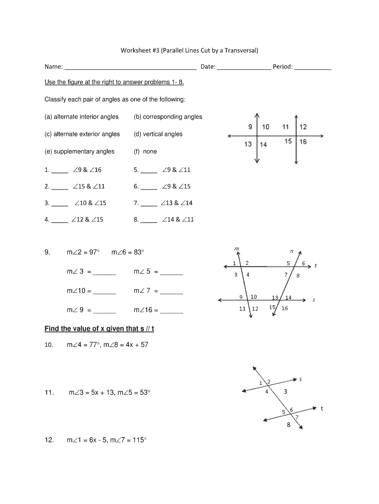 hight resolution of Parallel Lines Cut By A Transversal Worksheet 8th Grade Pdf - Fill Out and  Sign Printable PDF Template   signNow
