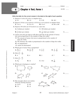 Glencoe Precalculus Chapter 4 Test Form 1 Answers