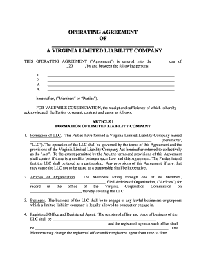 Limited liability company operating agreement _____, llc a membermanaged limited liability company operating agreement this operating agreement is made and entered into effective _____, 20_____, by and among: Operating Agreement Llc Va Fill Out And Sign Printable Pdf Template Signnow