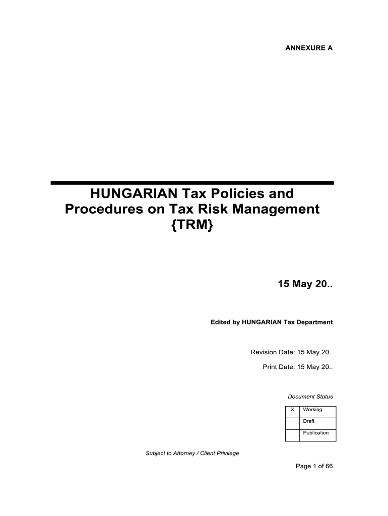 HUNGARIAN Tax Policies And Procedures On Tax Risk