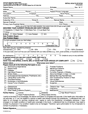 Health Status Form - Fill Out and Sign Printable PDF ...