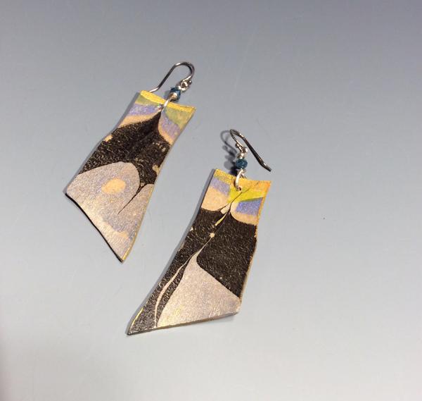 Sholeh Regna Reversible Marbled Birch Earrings, sideA