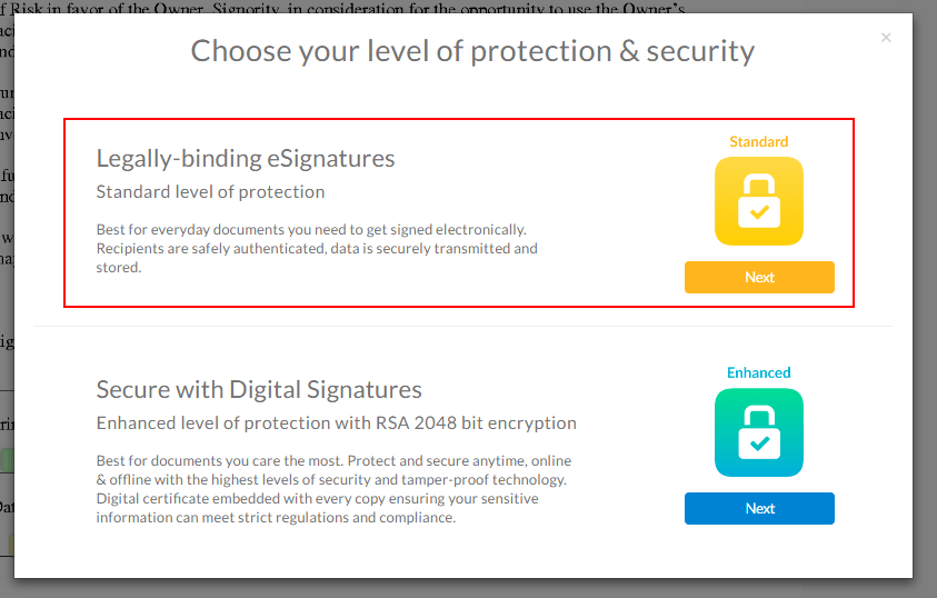 When you're ready to send, select the eSignature option