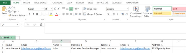 CSV file for Bulk Sign documents for signing