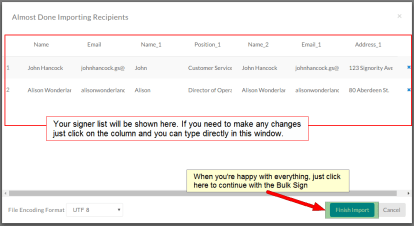 Finalize your signer list before completing the import for your bulk send documents for signing