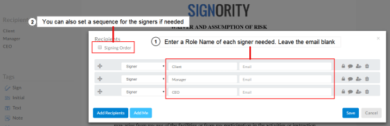 Setting up roles for your template