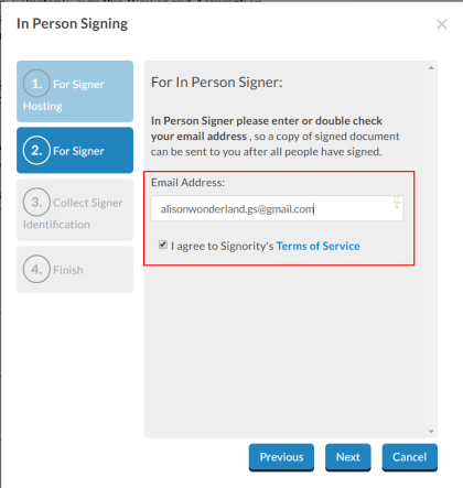 In-Person Signing Email Confirmation