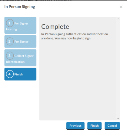 In-person signing authentication complete