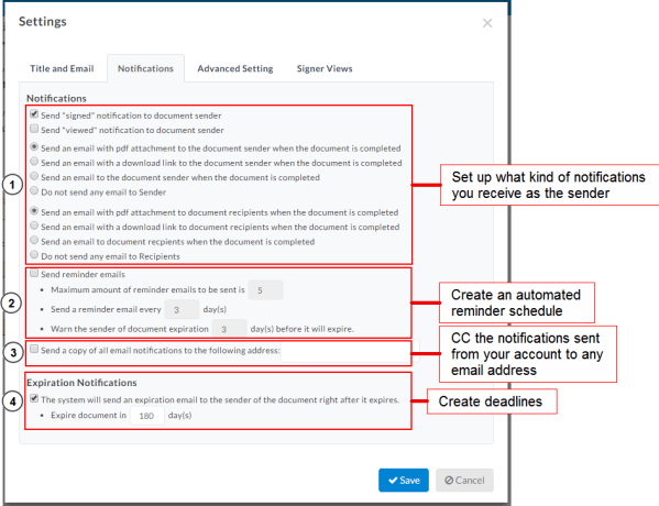 Editing Notification Reminder Options for New Documents