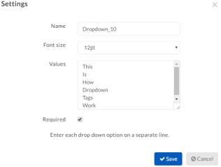 dropdown menu options
