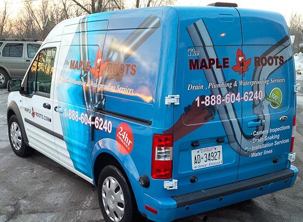 Custom vinyl wrap for a small van.