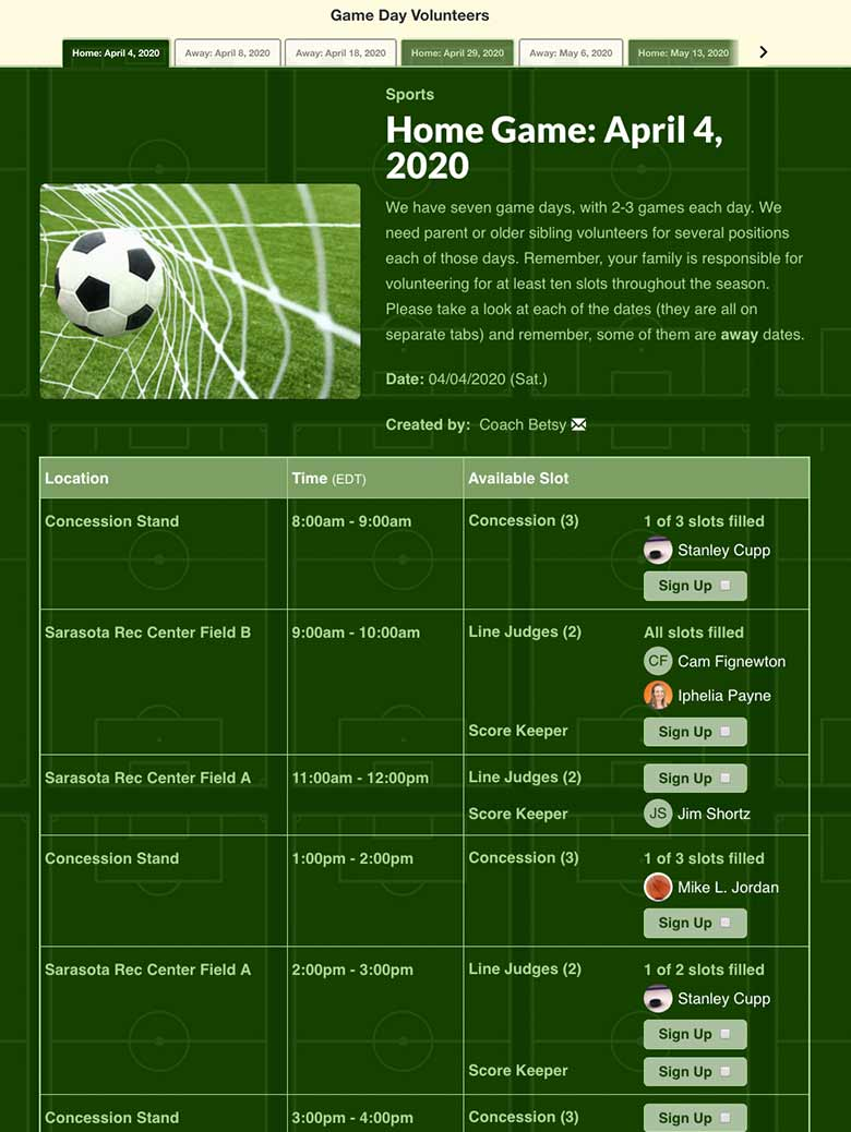 create soccer sign up