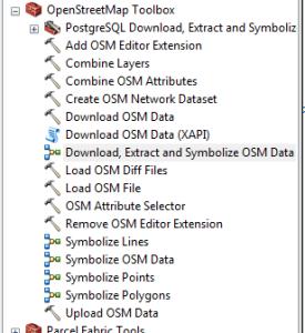 boîte à outils Openstreetmap dans arctoolbox