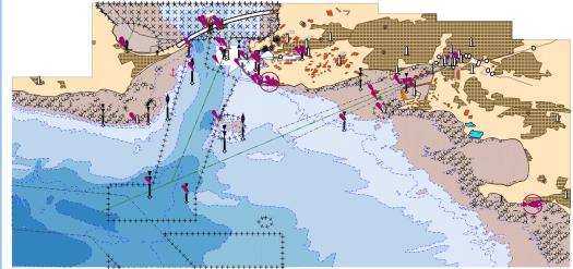 Résutat de la symbologie nautical sur une carte ENC