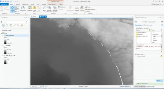 pixels vides à l'interface terre-mer
