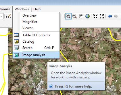ouverture de la barre d'outils analyse d'image d'arcmap