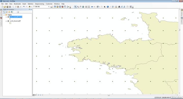 résultat du chargement des données dans ArcMap