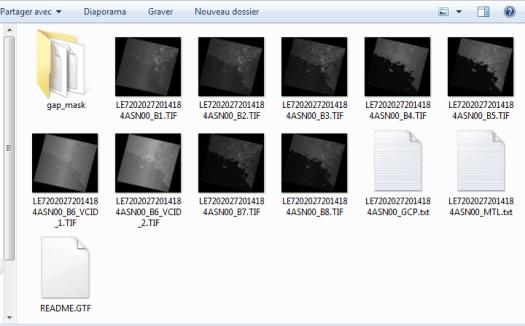 fichiers des bandes de l'image landsat 7