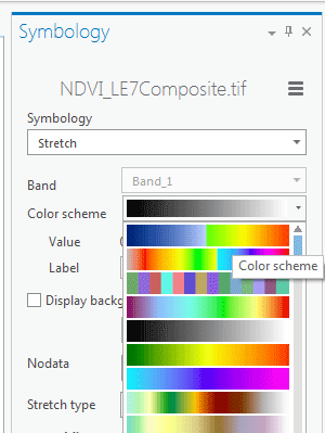 application du dégradé de couleurs sur le ndvi