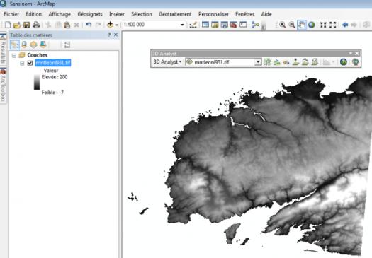 barre d'outils 3D Analyst d'ArcGis