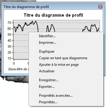 menu contextuel du graphique profil de terrain
