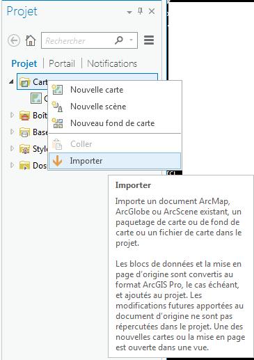 option importer un document arcmap dans le panneau de projet