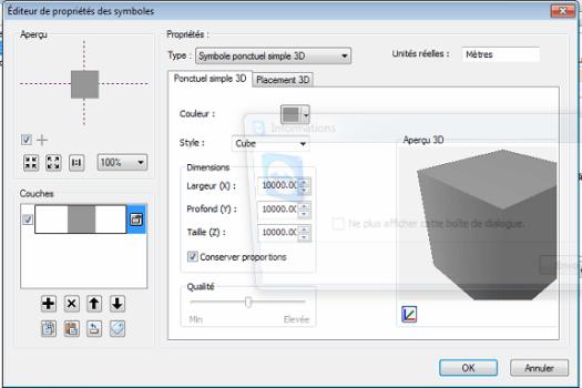 définition du symbole pour le cube dans ArcScene