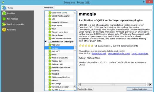 ouverture de la liste d'extensions de qgis wien 2.8