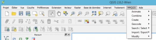 menu mmqgis ajouté à l'interface de qgis 2.8 wien