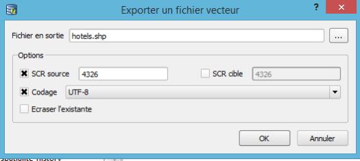 export d'une table spatialite vers un fichier shape