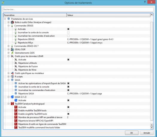 fenêtre de configuration de la toolbox qgis