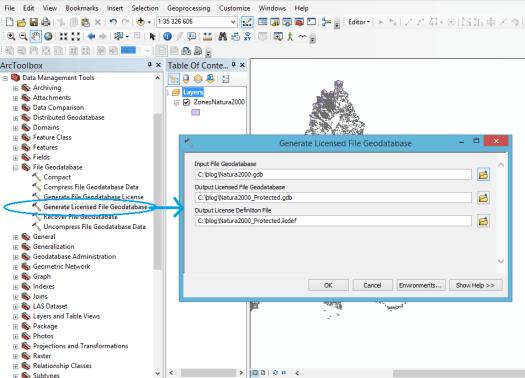 outil Générer une géodatabase fichier sous licence