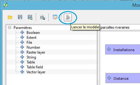 exécuter le modèle à partir de la fenêtre du modeleur graphique