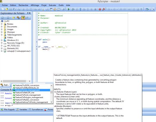 aide à la syntaxe dans un ide: pyscripter