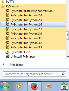quelle version de Pyscripter lancer