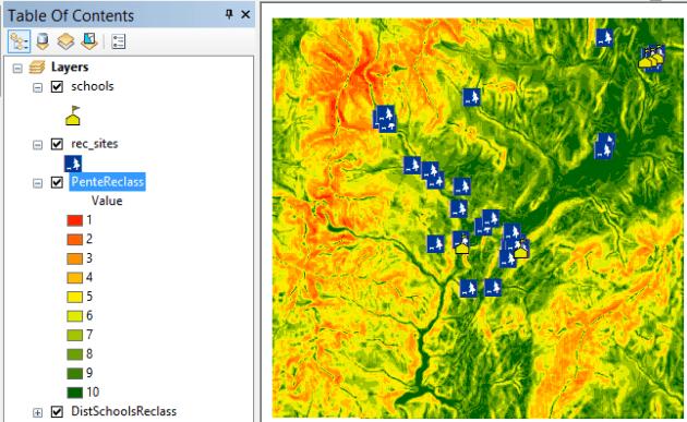 reclassification des pentes avec spatial analyst