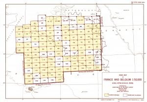 feuilles disponibles pour les cartes topographiques de 1937 au 1/50000
