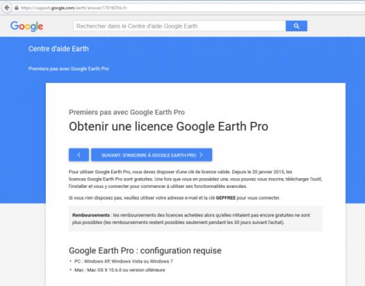 page de téléchragement de google earth pro