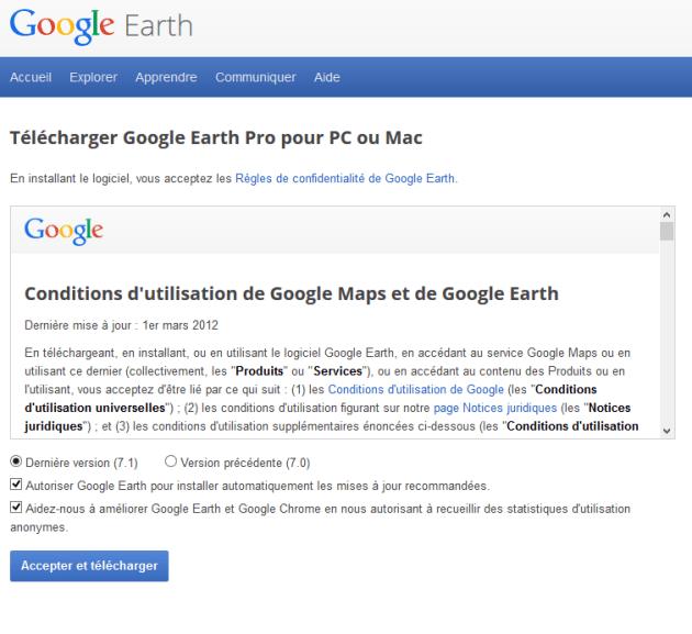 lien de téléchragement de google earth pro