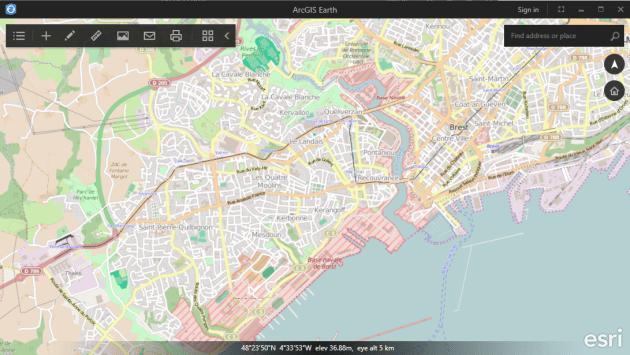 fond de carte OpensStreetMaps d'arcgis earth