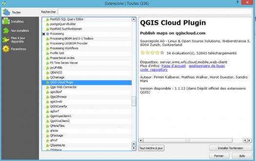 installation du plugin qgis cloud dans qgis
