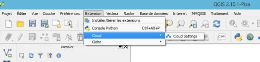 menu de qgis cloud dans qgis
