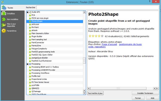 installation du plugin photo2shape dans qgis