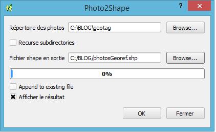 paramétrage du plugin photo2shape