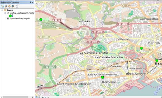 résultat de l'intégration des photos geotaggées
