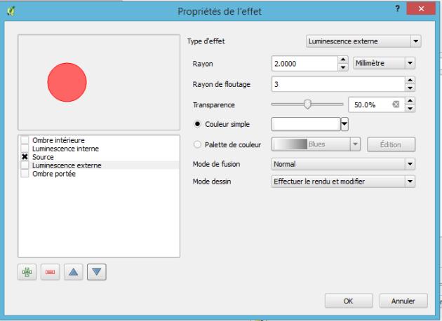 fenêtre de configuration de l'effet de couche dans qgis 2.12