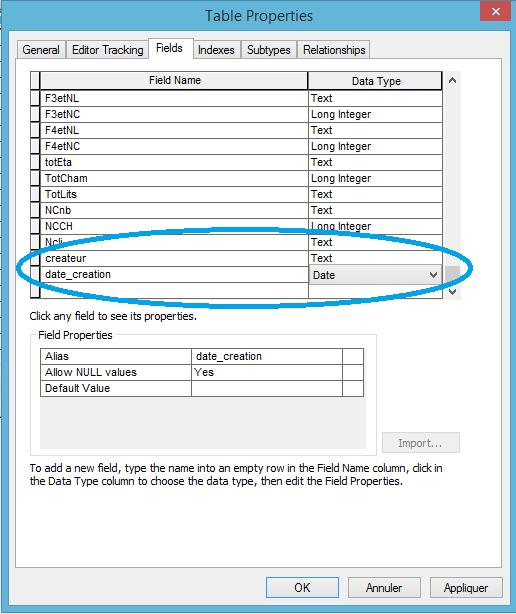ajout de champs avant l'activation du suivi de l'éditeur