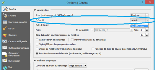 option de changement de l'interface de qgis 2.12
