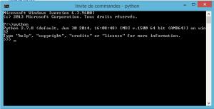 lancement de python dans l 'invite de commandes
